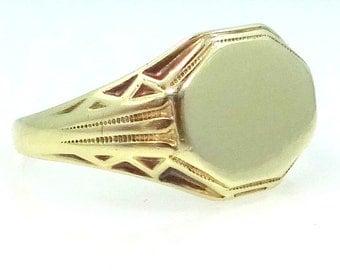 Victorian 14k Gold Signet Ring Size 11 No Monogram