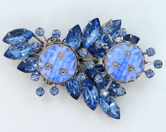 Blue Art Glass Pin with Blue Navette Stones