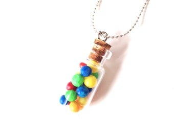 THE BONBONS -- Necklace with miniature bottle and bonbons, by The Sausage