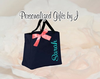 9 Personalized Bridesmaid Gift Tote Bags- Embroidered Tote - Maid of Honor Gift - Name Tote- Mother of the Bride/ Groom