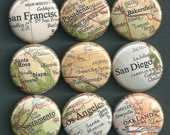 One Inch Magnet Set - Vintage California Map - One of a kind set