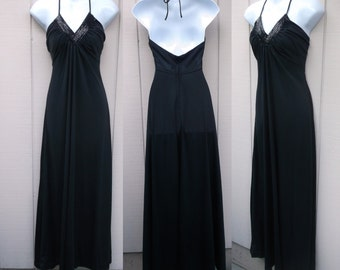 70s Vintage Black Halter Jersey Maxi Dress from Rags by Kessandra / Disco / Sz Sml 34 Bust