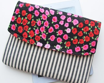 Envelope Clutch Purse Handbag with Large Zip Pocket | Gadget Pouch Tablet Computer Sleeve