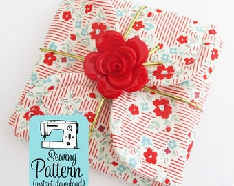 Petal Gift Pouches PDF Sewing Pattern | Sew three size of fabric petal envelopes to use for gift wrap, storage pouches, etc.