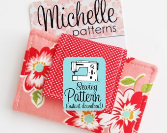 Business Card Wallet PDF Sewing Pattern | Sewing pattern to make a mini wallet to use as a business or credit card case.
