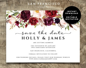 Save the Date Card template |  Editable, instant download | watercolor, fall, winter | Holly | PDF