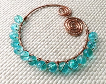 Marine Bubbles - shawl pin with teal glass beads
