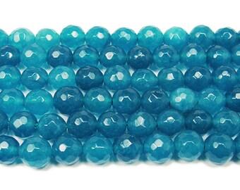Ocean Blue Jade Faceted Gemstone Beads