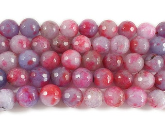 Multi Color Red Plum Jade Faceted Gemstone Beads