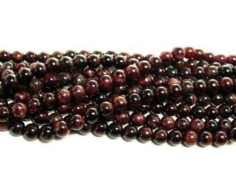 Red Garnet Round Gemstone Beads