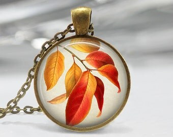 Leaf Art Pendant, Botanical Leaf Pendant, Leaves Necklace, Botanical Jewelry, Vintage Art Pendant, Bronze, Silver, Red Yellow Leaves FL24