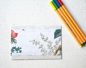 Fabric Postcard - Upcycled Collage - Textile Art - French Vintage handpainted leaf print - botany
