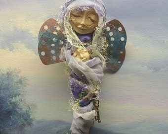 Little Dragonfly, Assemblage ,Shabby Chic Decor, OOAK ART DOLL, Spirit of Creativity and Inspiration