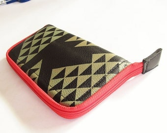 Zip Around Wallet Black Leather Triangles
