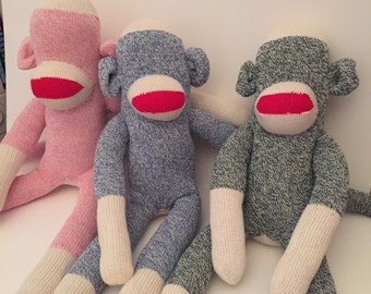 One Red Heel SockMonkey- Pick the color -Pick the eyes