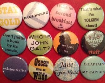 Bookish Button Pack / Literary Pins / Book Lover Gift / Book Pins / Reader Gift / Book Club Gift / Stocking Stuffer / Teacher Gift