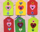 The Love Tags , 6 punch art gift tags with hearts, holiday tags, all occasion tags, OOAK, handmade tags, love tags, hearts, punch art