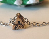 Tiny House With Heart Hand Sculpted In Bronze On Sterling Silver Chain