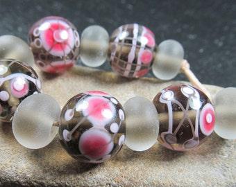 Ceylon and vivid pink lampwork bead set