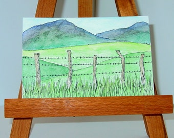 Original Pen and Ink Wash Green Mountains and Barbed Wire Fence Postcard 4x6