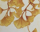 Ginkgo 3 - 7 x 8.5 inch drypoint monoprint of Ginkgo leaves - OOAK - Original art - yellow, blue, orange