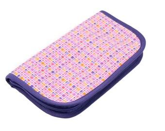 SALE 25% OFF Travel Zip Around Knitting Needle Organizer - City Lights - purple pockets