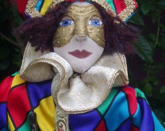 E- Pattern- Commedia D'Arte, ARLECCHINO, Maka a Costume doll, PATTERN, Cloth doll Workshop, Cloth Doll Projects, tutorial, Michelle Munzone