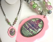 Handmade Pink and Green Poison Necklace - Scalloped Pendant Candy Pink, Vintage Skull Label, Glass Dome, Crackled Glass Beads Gunmetal Chain