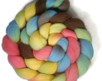 Handpainted Targhee Wool Roving - 4 oz. CUPCAKE- Spinning Fiber