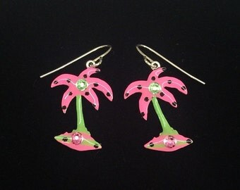 Whimsical Tropical Pink and Lime Green Palm Tree Earrings