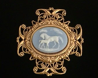 Arabian Horse Mare and Foal Cameo Brooch Intricate Filigree Blue and White