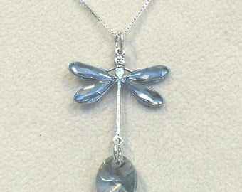 Crystal Blue Shade Dragonfly Necklace Sterling Silver Box Chain