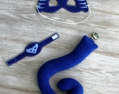 PJ Catboy Bedtime Hero Blue Cat Superhero Costume Cat Tail Mask Bracelet