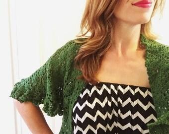 Mossy green lightweight lacy shawl