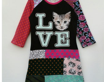 Size 8 (52 3/4 inch height) upcycled girls dress with print love