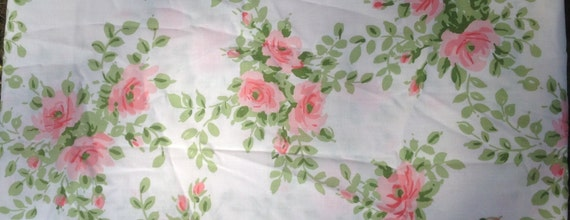 Utica Pink Rose Pillow Case - 1977 - Vintage Linens and Fabric