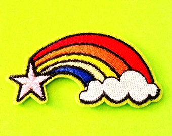 Shooting Star Rainbow Brite Retro 80s Cartoon Pride Cloud Iron or Sew On Patch