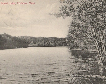 Vintage 1910s Postcard Foxboro Massachusetts Foxboro Black and White Beautiful Old Card Divided Back Era Postmarked