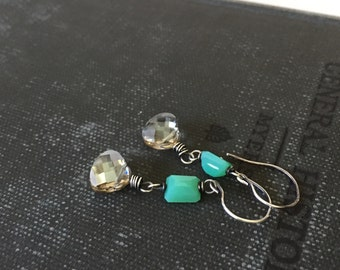 Chrysoprase and Crystal sterling silver earrings by Anne More Jewelry.