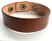 "Narrow, 3/4"" Wide Tan Leather Cuff Bracelet Wristband by Shaterra"