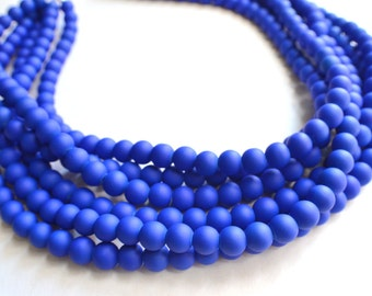 The Michelle- Cobalt Blue Matte Statement Necklace