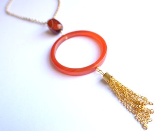 The Tanya- Red Agate Hoop and Gold Tassel Necklace