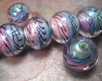 rainbow dichroic latticino (by-the-bead) lampwork glass bead