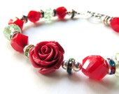 Christmas Rose Bracelet - Red Rose Holiday Bracelet - Red and Green Christmas Jewelry - Gift