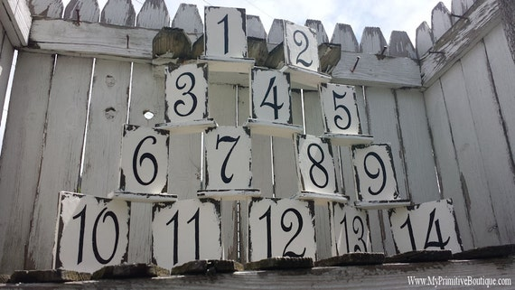 WEDDING TABLE NUMBERS | Shabby Chic Wedding Decor | Wooden Table Numbers