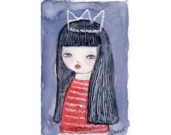 The Ice Queen - Giclee Reproduction Of Original Watercolor Girl Portrait Folk Painting By Danita Art (Paper Prints and ACEO Wood Mounted)