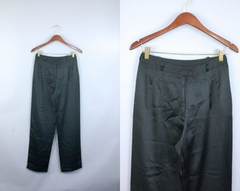 Vtg 80s Black satin silk high waisted pants sz XS