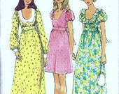 Simplicity 5568 Misses Maxi Mini Dress 70s Vintage Sewing Pattern Size 16 Bust 38 Prom, Party Empire Waist
