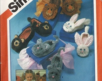 Simplicity 6231 Sewing Pattern Adult Animal Slippers Bear, Lion, Rabbit, Mouse Uncut Men Women Size Small, Medium, Large