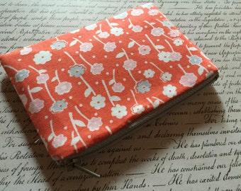 Wildflowers - womens wallet -  zipper bag - change purse - pouch